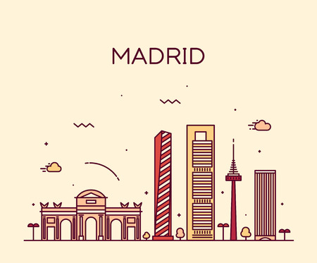 madrid: Madrid skyline detailed silhouette Trendy vector illustration linear style Illustration