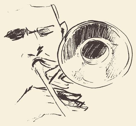 Concepto para el cartel del jazz Hombre tocando el trombón mano de la vendimia trompeta ejemplo dibujado boceto Ilustración de vector