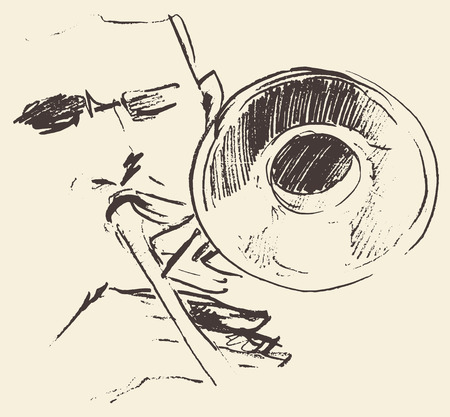 Concept for jazz poster Man playing trombone trumpet Vintage hand drawn illustration sketch Vectores
