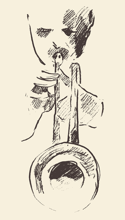funk: Concept for jazz poster Man playing trumpet Vintage hand drawn illustration sketch
