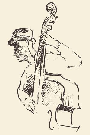 ジャズ ポスター男ヴィンテージ手ダブルベースを演奏の概念図スケッチを描かれて