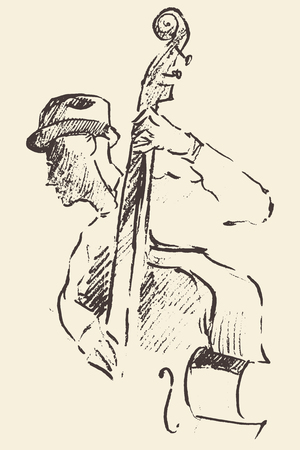 funk: Concept for jazz poster Man playing double bass Vintage hand drawn illustration sketch
