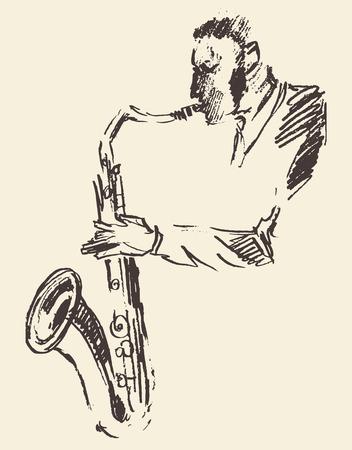 Concept voor jazz poster Man spelen saxofoon Vintage hand getekende illustratie schets