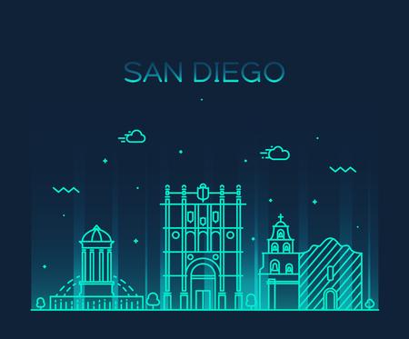 san: San Diego skyline big city architecture vintage engraved vector illustration hand drawn sketch Illustration