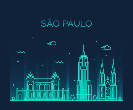 Sao Paulo skyline detailed silhouette Trendy vector illustration line art style