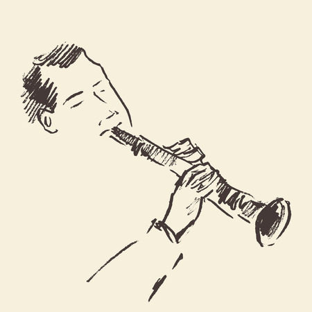 clarinet: Concept for jazz poster Man playing Clarinet Vintage hand drawn illustration sketch