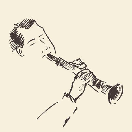 clarinete: Concepto para el cartel del jazz Hombre tocando clarinete boceto dibujado a mano de la vendimia