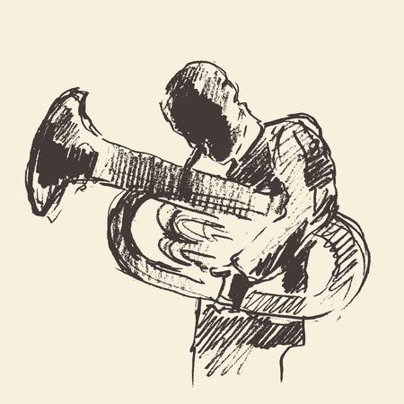 Concept for jazz poster Man playing Tuba trumpet Vintage hand drawn illustration sketch Illustration