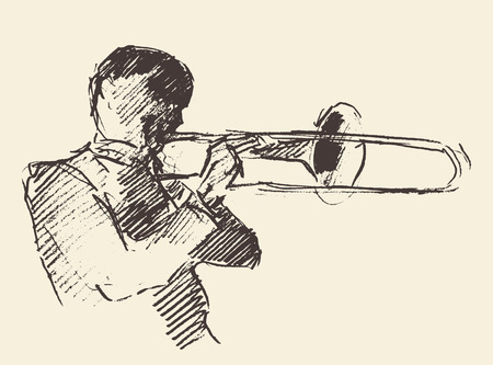 Concept for jazz poster Man playing trombone trumpet Vintage hand drawn illustration sketch