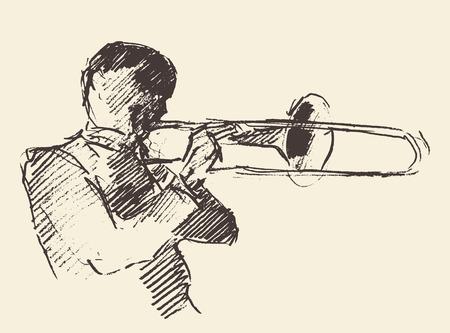 Concepto para el cartel del jazz Hombre tocando el trombón mano de la vendimia trompeta ejemplo dibujado boceto