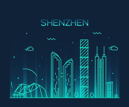 Shenzhen skyline detailed silhouette Trendy vector illustration line art style Vectores