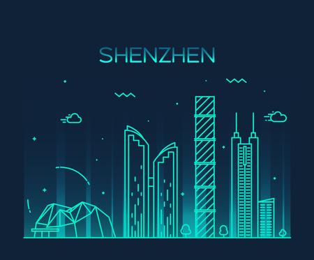 Shenzhen skyline detailed silhouette Trendy vector illustration line art style Stock Illustratie
