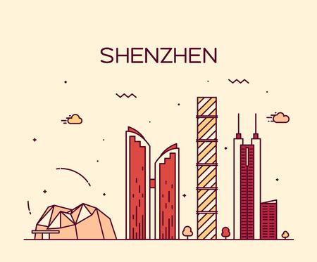 Shenzhen skyline detailed silhouette Trendy vector illustration line art style  イラスト・ベクター素材