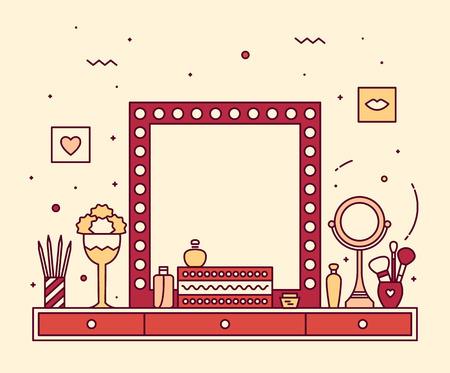 モダンなデザイナー化粧テーブル虚栄心線形スタイル アクセサリー ミラー ドレッシング テーブルの流行色 写真素材 - 44414845