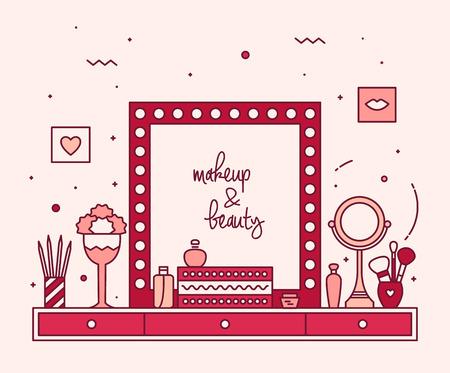 Moderne ontwerper make-up tafel ijdelheid lineaire stijl accessoires spiegel kaptafel trendy kleuren Stockfoto - 44414688