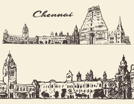 hindu temple: Chennai big city architecture vintage engraved illustration hand drawn sketch Illustration