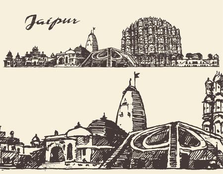Jaipur, big city architecture vintage engraved illustration hand drawn sketch Illustration