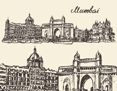 bombay: Mumbai skyline vintage vector engraved illustration hand drawn sketch Illustration
