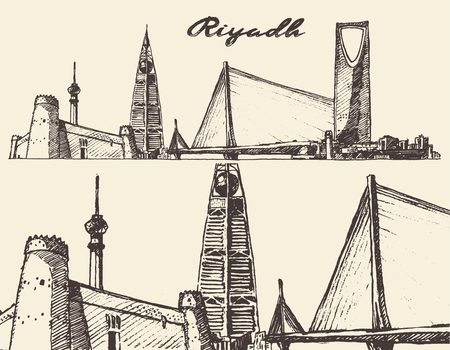 engraving: Riyadh skyline big city architecture vintage engraved vector illustration hand drawn sketch