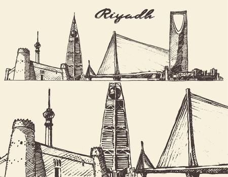arabia: Riyadh skyline big city architecture vintage engraved vector illustration hand drawn sketch