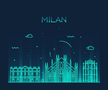 Milan skyline detailed silhouette Trendy vector illustration line art style