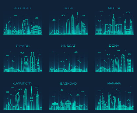 peninsula: Arabian peninsula skylines Abu Dhabi Dubai Mecca Riyadh Muscat Doha Kuwait City Baghdad Manama Trendy vector illustration line art style Illustration