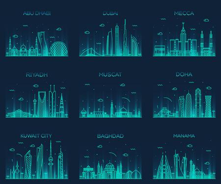 Arabian peninsula skylines Abu Dhabi Dubai Mecca Riyadh Muscat Doha Kuwait City Baghdad Manama Trendy vector illustration line art style Stock Illustratie
