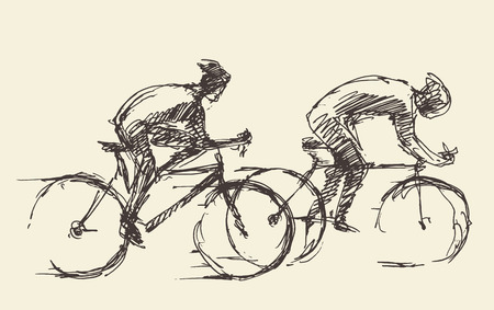 road bike: Bicyclist rider man with bike isolated on background vector illustration hand drawn sketch