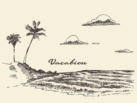 シーサイド ビューとビーチ ベクトル イラスト スケッチと美しい手描き下ろし休暇ポスター  イラスト・ベクター素材