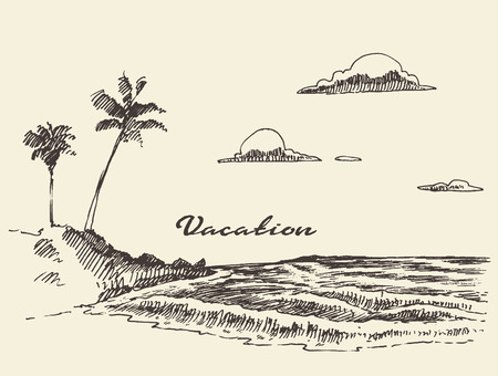 Beautiful hand drawn vacation poster with seaside view and beach vector illustration sketch Ilustração