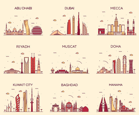 city building: Arabian peninsula skylines Abu Dhabi Dubai Mecca Riyadh Muscat Doha Kuwait City Baghdad Manama Trendy vector illustration line art style Illustration