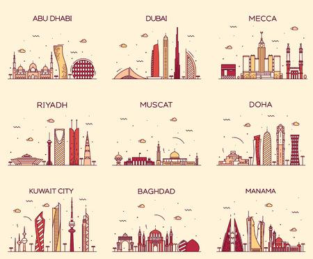 Arabian peninsula skylines Abu Dhabi Dubai Mecca Riyadh Muscat Doha Kuwait City Baghdad Manama Trendy vector illustration line art style Vettoriali
