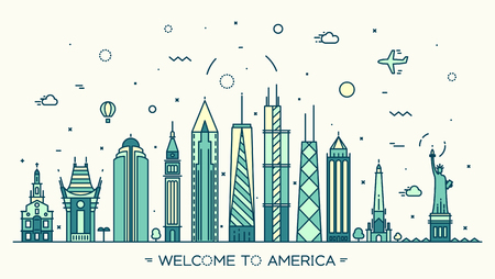 United States of America skyline detailed silhouette Trendy vector illustration linear style
