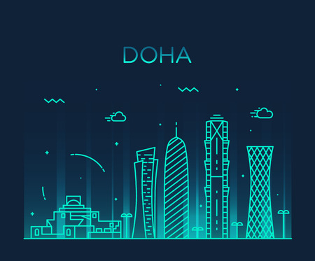 qatar: Doha skyline detailed silhouette Trendy vector illustration linear style Illustration