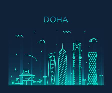 doha: Doha skyline detailed silhouette Trendy vector illustration linear style Illustration