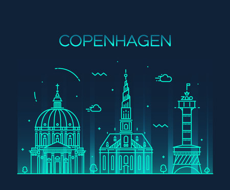 city panorama: Copenhagen skyline detailed silhouette Trendy vector illustration linear style Illustration