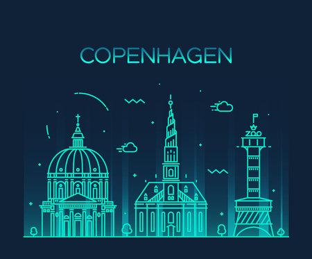 Copenhagen skyline detailed silhouette Trendy vector illustration linear style