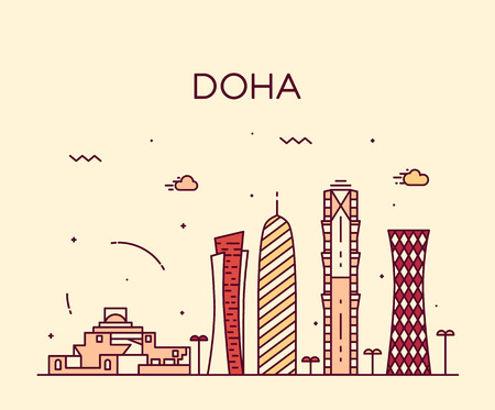 skyline city: Doha skyline detailed silhouette Trendy vector illustration linear style Illustration