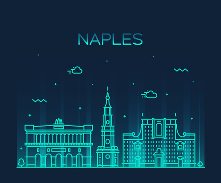 napoli: Naples skyline detailed silhouette Trendy vector illustration linear style
