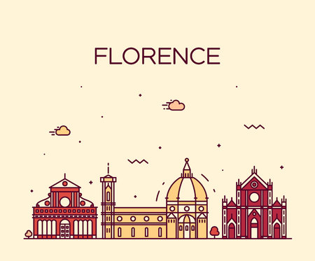 florence   italy: Florence skyline detailed silhouette Trendy vector illustration linear style