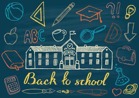 school children: Back to school background design template big set of school theme icons hand drawn vector illustration