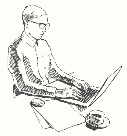 hand work: Sketch of hands with computer man doing office work top view hand drawn vector illustration