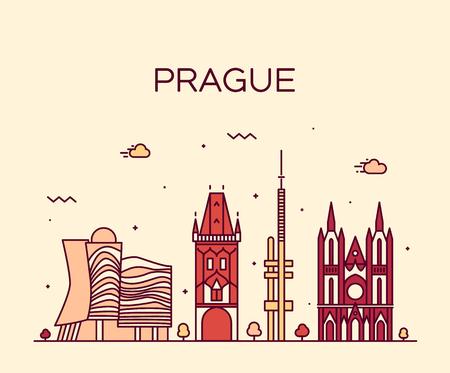illustration line art: Prague skyline detailed silhouette Trendy vector illustration line art style