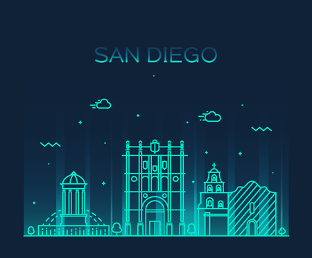 diego: San Diego skyline big city architecture vintage engraved vector illustration hand drawn sketch Illustration