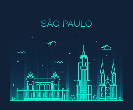 illustration line art: Sao Paulo skyline detailed silhouette Trendy vector illustration line art style