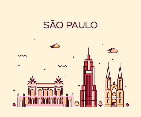 Sao Paulo skyline detailed silhouette Trendy vector illustration line art style