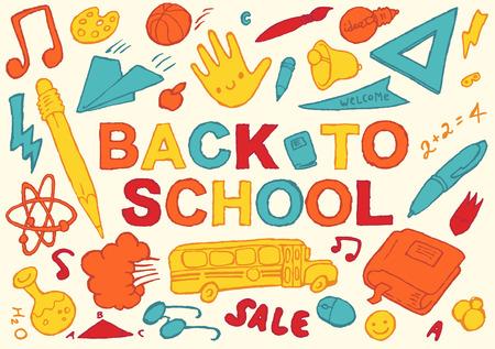 niños con pancarta: Ilustración vectorial Volver a la escuela de fondo plantilla de diseño gran conjunto de iconos de tema de escuela dibujado a mano Vectores