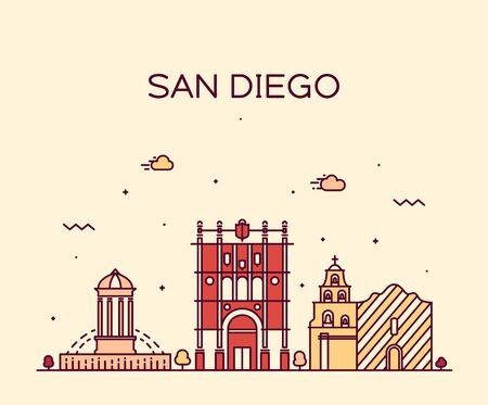 san diego: San Diego skyline big city architecture vintage engraved vector illustration hand drawn sketch Illustration
