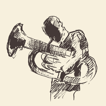 tuba: Concept for jazz poster Man playing Tuba trumpet Vintage hand drawn illustration sketch Illustration