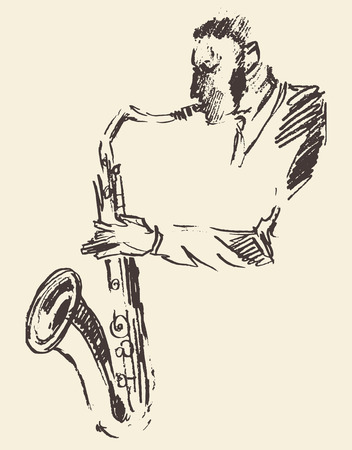 draw a sketch: Concept for jazz poster Man playing saxophone Vintage hand drawn illustration sketch